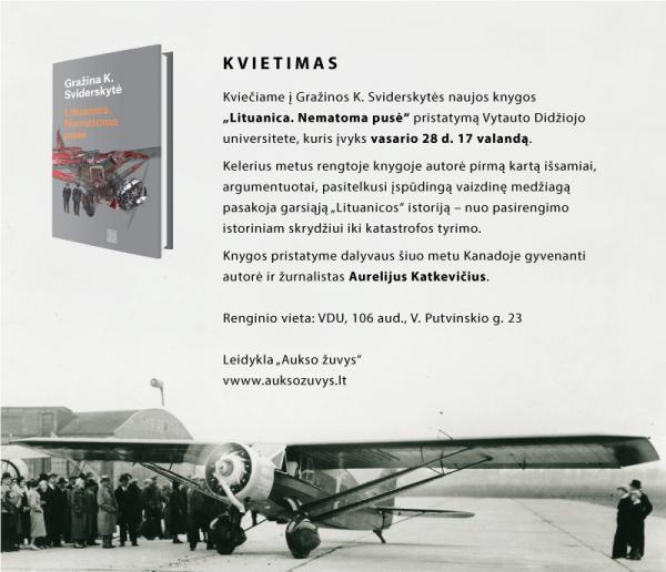 """Gražinos Sviderskytės naujos knygos """"Lituanica. Nematoma pusė"""" pristatymas Kaune"""