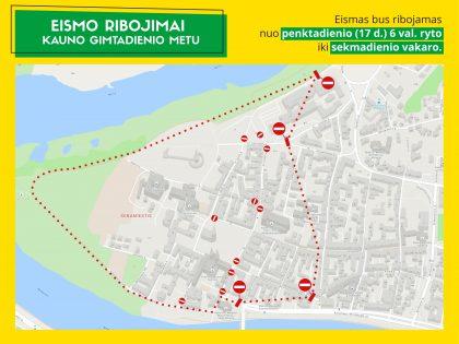 Per Kauno miesto gimtadienį – eismo ribojimai senamiestyje