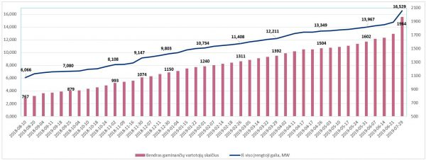 Auga elektros energiją gaminančių vartotojų skaičius