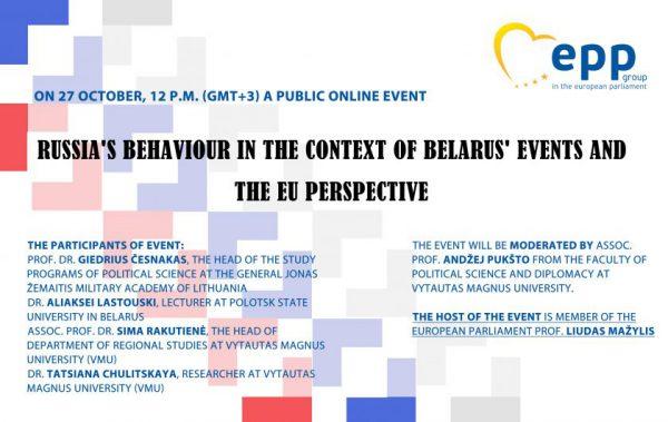 Virtualiame renginyje – Rusijos elgsenos Baltarusijos įvykių kontekste bei ES perspektyvos analizė