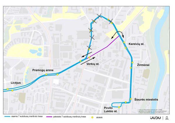 Dėl Verkių ir Kareivių gatvėse vykdomų darbų – eismo ir viešojo transporto judėjimo pokyčiai