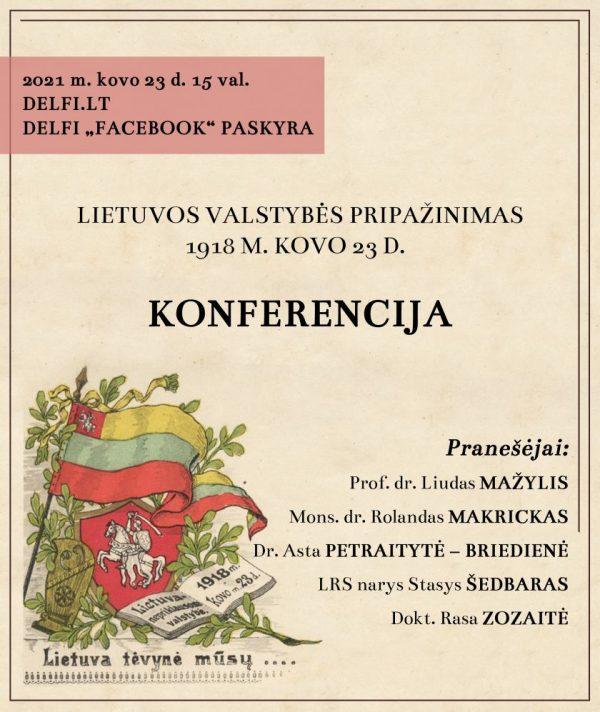 Prof. L. Mažylis. 1918 m. kovo 23 d. Lietuvos valstybės pripažinimą galima laikyti diplomatijos užuomazga