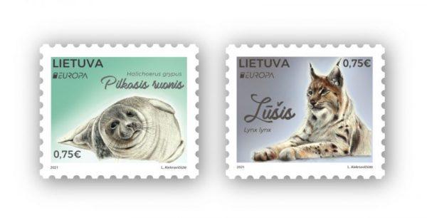 Naujausiuose pašto  ženkluose – nykstantys pilkasis ruonis ir lūšis